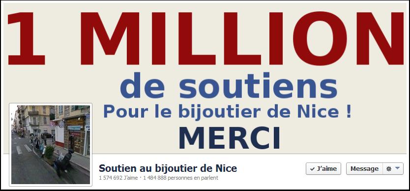Je soutiens le bijoutier de Nice sur Facebook.